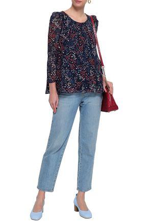 CLAUDIE PIERLOT Bow-embellished printed georgette blouse