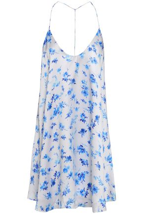 CAMI NYC Open-back floral-print silk-satin mini dress