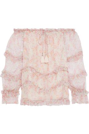 LOVE SAM Sadie off-the-shoulder ruffled floral-print georgette blouse