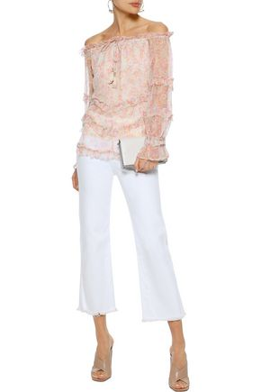 LOVE SAM Sadie off-the-shoulder ruffled floral-print georgette blouse