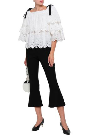CLAUDIE PIERLOT Bounty bow-embellished tiered broderie anglaise cotton top