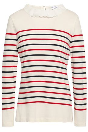 CLAUDIE PIERLOT Striped cotton-blend jersey top