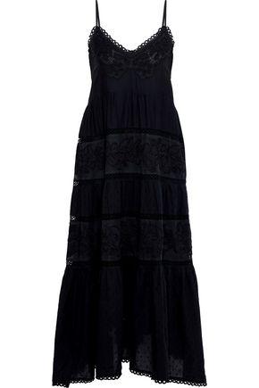 LOVE SAM Aurora mesh-paneled Swiss-dot cotton-blend voile midi dress