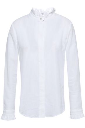 CLAUDIE PIERLOT Ruffle-trimmed cotton-gauze shirt
