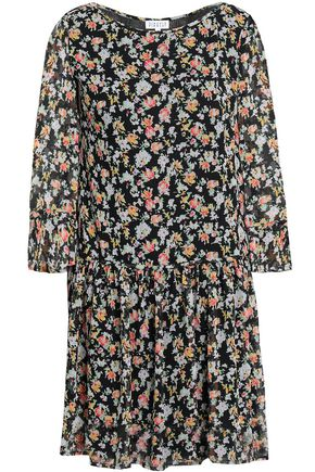 CLAUDIE PIERLOT Floral-print gathered georgette mini dress
