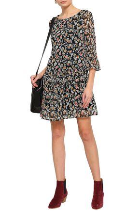 CLAUDIE PIERLOT Floral-print gathered georgette mini dress