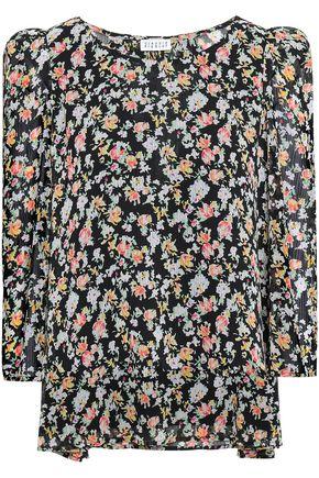 CLAUDIE PIERLOT Bow-embellished floral-print georgette blouse