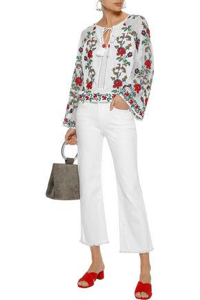 LOVE SAM Embroidered mesh-paneled cotton-gauze blouse