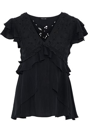 LOVE SAM Ruffled embroidered crepe de chine blouse