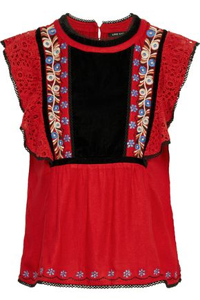 LOVE SAM Merry guipure lace-paneled embroidered velvet blouse