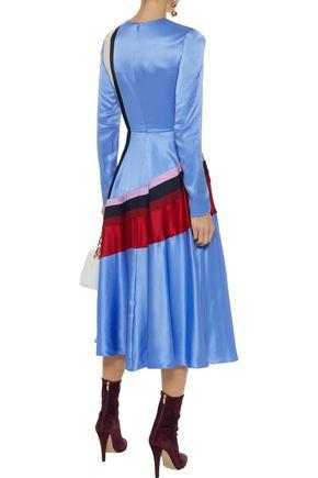 ROKSANDA Etta striped silk-satin, cady and twill midi dress