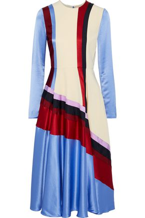 ROKSANDA Striped twill and cady-paneled silk-satin midi dress