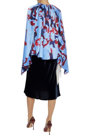 ROKSANDA Giana draped printed silk-satin blouse