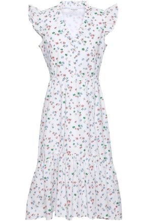 CLAUDIE PIERLOT Ruffle-trimmed floral-print cotton-poplin dress