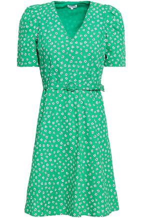 CLAUDIE PIERLOT Belted floral-print cotton-poplin mini dress