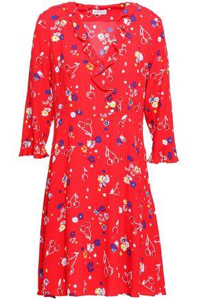 CLAUDIE PIERLOT Ruffled floral-print crepe de chine mini dress