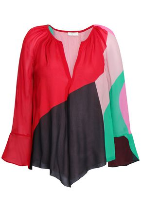 JOIE Quinlynn color-block silk-chiffon blouse