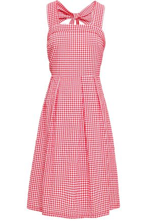 CLAUDIE PIERLOT Bow-embellished gingham cotton-blend seersucker dress