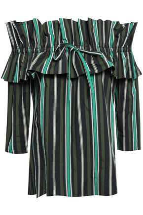 CLAUDIE PIERLOT Off-the-shoulder gathered striped cotton-poplin top