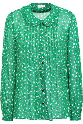 CLAUDIE PIERLOT Pintucked printed chiffon shirt