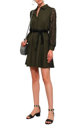 CLAUDIE PIERLOT Lace-paneled cotton-poplin mini shirt dress