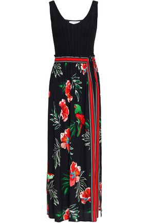 CLAUDIE PIERLOT Ribbed-paneled printed crepe maxi dress