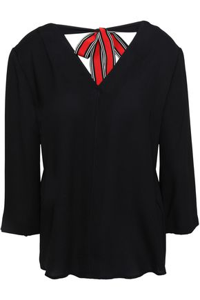 CLAUDIE PIERLOT Brooke bow-detailed cutout cady blouse