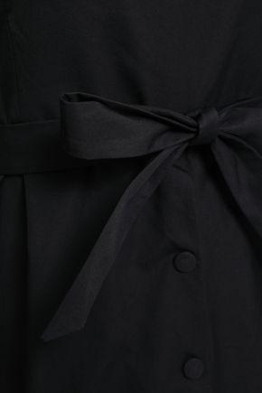 CLAUDIE PIERLOT Off-the-shoulder crochet-trimmed cotton-poplin midi dress