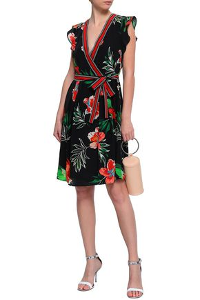 CLAUDIE PIERLOT Belted wrap-effect printed silk crepe de chine dress