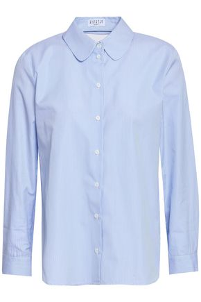 CLAUDIE PIERLOT Catchy cutout striped cotton-poplin shirt