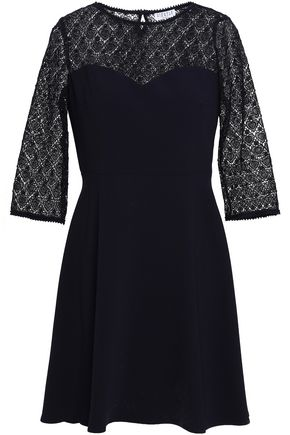 CLAUDIE PIERLOT Rimabelle paneled lace and cady mini dress