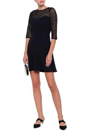 CLAUDIE PIERLOT Rimabelle paneled lace and cady mini dress
