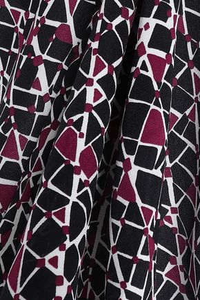 MARNI Asymmetric printed silk crepe de chine top