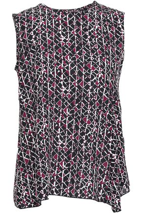 MARNI Asymmetric printed silk crepe de chine top