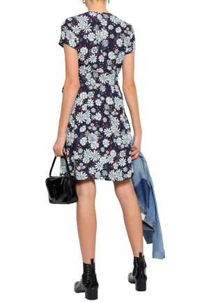 CLAUDIE PIERLOT Wrap-effect floral-print crepe mini dress