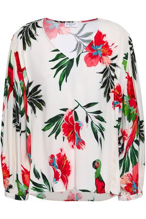 CLAUDIE PIERLOT Pleated floral-print crepe blouse