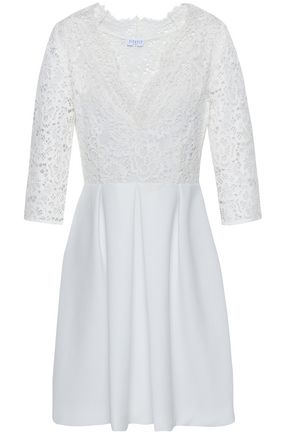 CLAUDIE PIERLOT Pleated corded lace and crepe mini dress