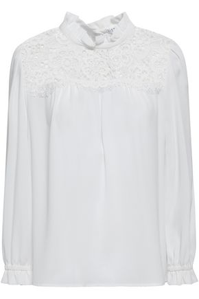 CLAUDIE PIERLOT Lace-paneled textured-crepe blouse