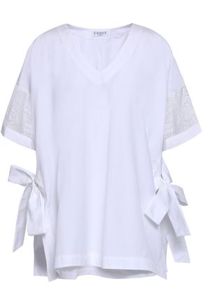 CLAUDIE PIERLOT Lace-trimmed cotton-poplin blouse