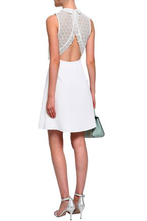 CLAUDIE PIERLOT Lace-paneled crepe mini dress
