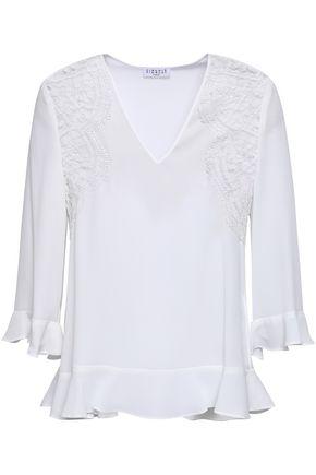 CLAUDIE PIERLOT Lace-trimmed crepe de chine blouse