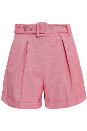 CLAUDIE PIERLOT Belted pleated tweed shorts