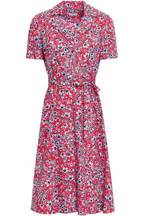 CLAUDIE PIERLOT Belted floral-print cotton-poplin midi dress