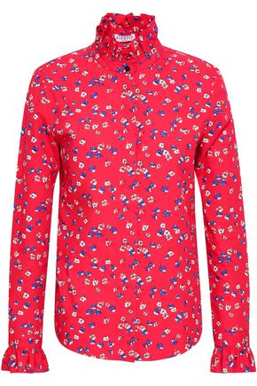 CLAUDIE PIERLOT Ruffled floral-print cotton-poplin shirt