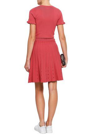 SANDRO Pointelle-trimmed stretch-knit dress