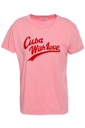 SANDRO Flocked cotton-jersey T-shirt