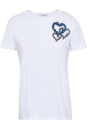 SANDRO Embroidered Pima cotton-jersey T-shirt