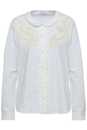 CLAUDIE PIERLOT Lace-paneled ruffled cotton-blend shirt