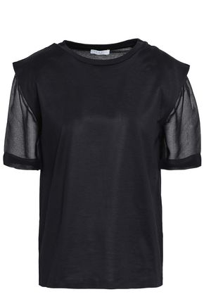 SANDRO Georgette-paneled jersey T-shirt