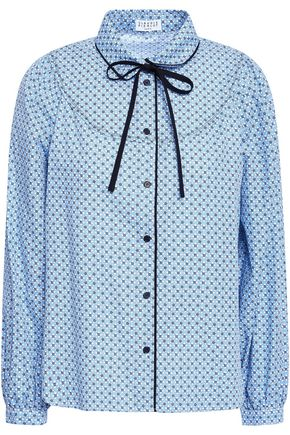 CLAUDIE PIERLOT Carissa pussy-bow printed cotton-poplin shirt